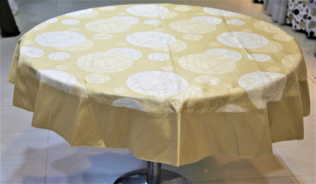 Printed(60 Inch) Round Table Cover(Beige)-Polyester