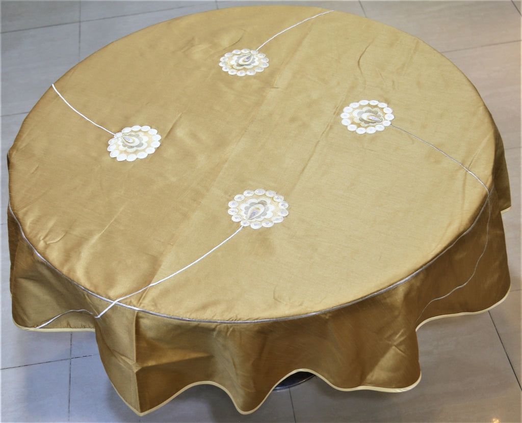 Patch Work(60 Inch) Round Table Cover(Cream-Gold)-Polyester