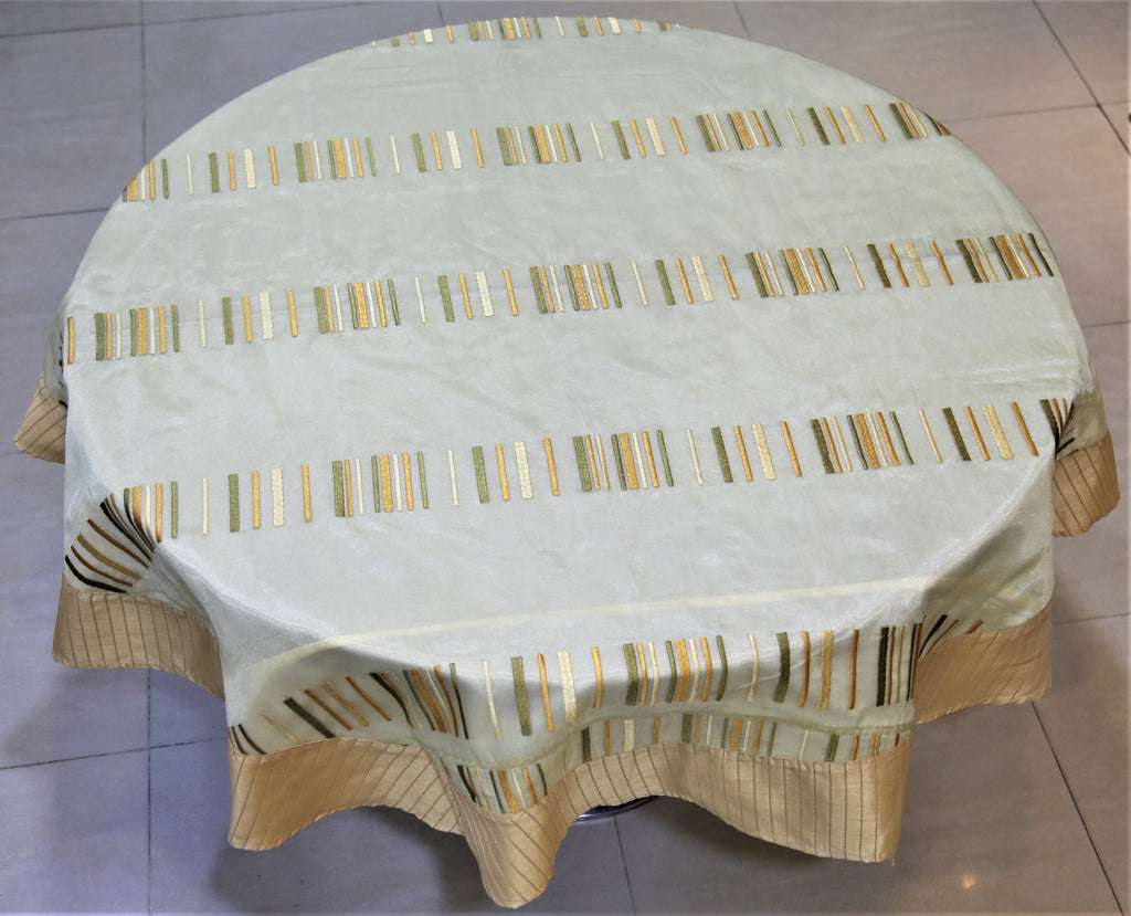 Embroidery(60 Inch) Round Table Cover(Gold)-Sheer