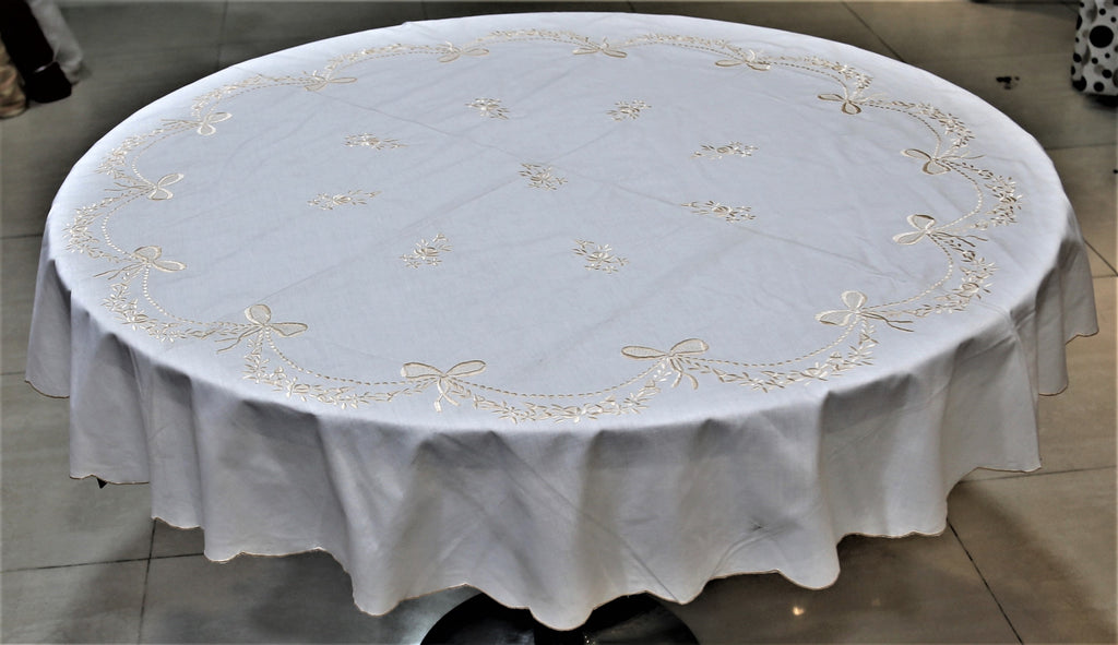 Embroidery(60 Inch) Round Table Cover(Cream)-Polyester
