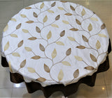Embroidery(60 Inch) Round Table Cover(White-Brown)-Sheer