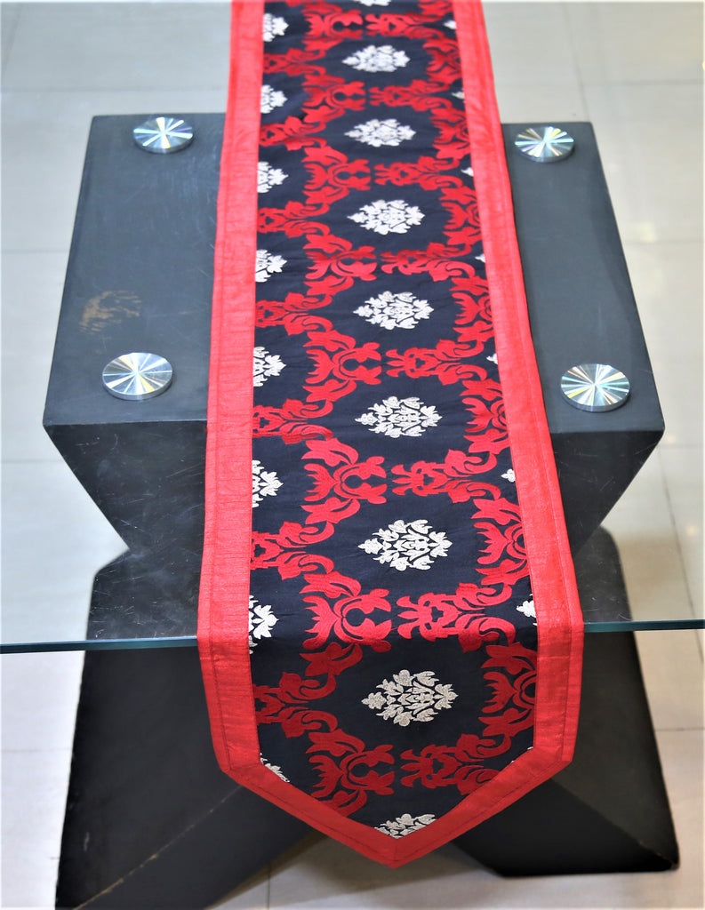 Embroidery(13 X 72 Inch) Table Runner(Red/Black)-Dupion Silk