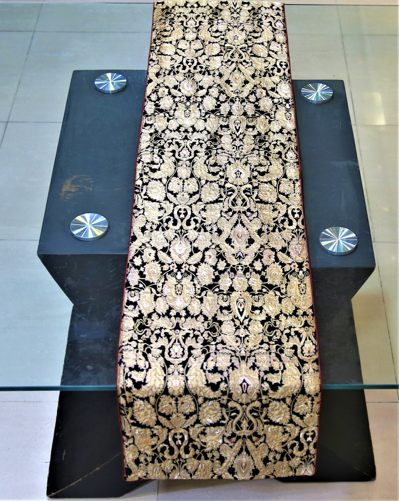Brocade(13 X 60 Inch) Table Runner(Black)-Dupion Silk