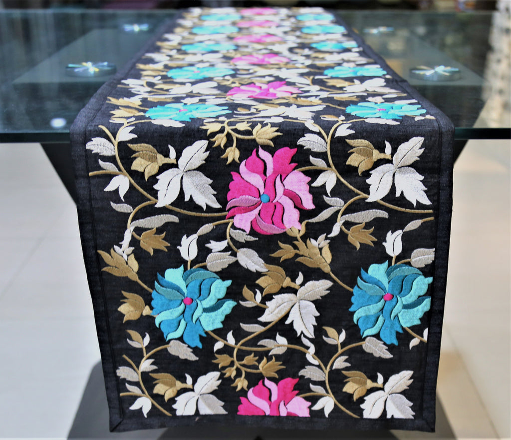 Embroidery(13 X 90 Inch) Table Runner(Multi)-Dupion Silk