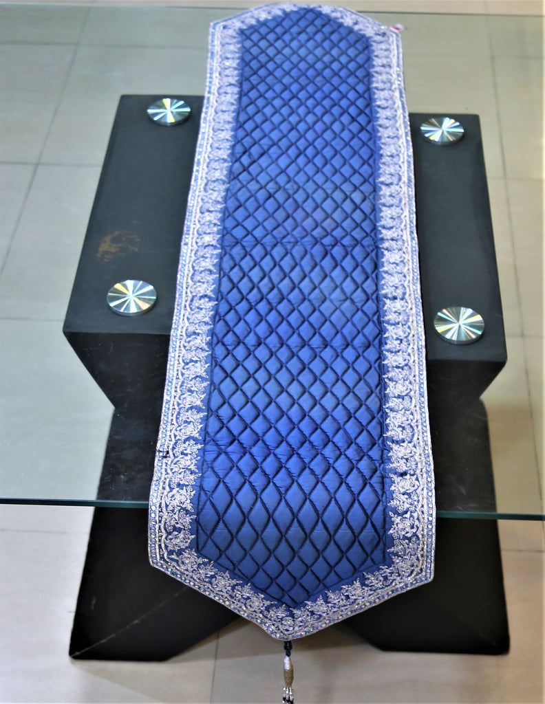 Zari Embroidery(13 X 60 Inch) Table Runner(Blue)-Silk