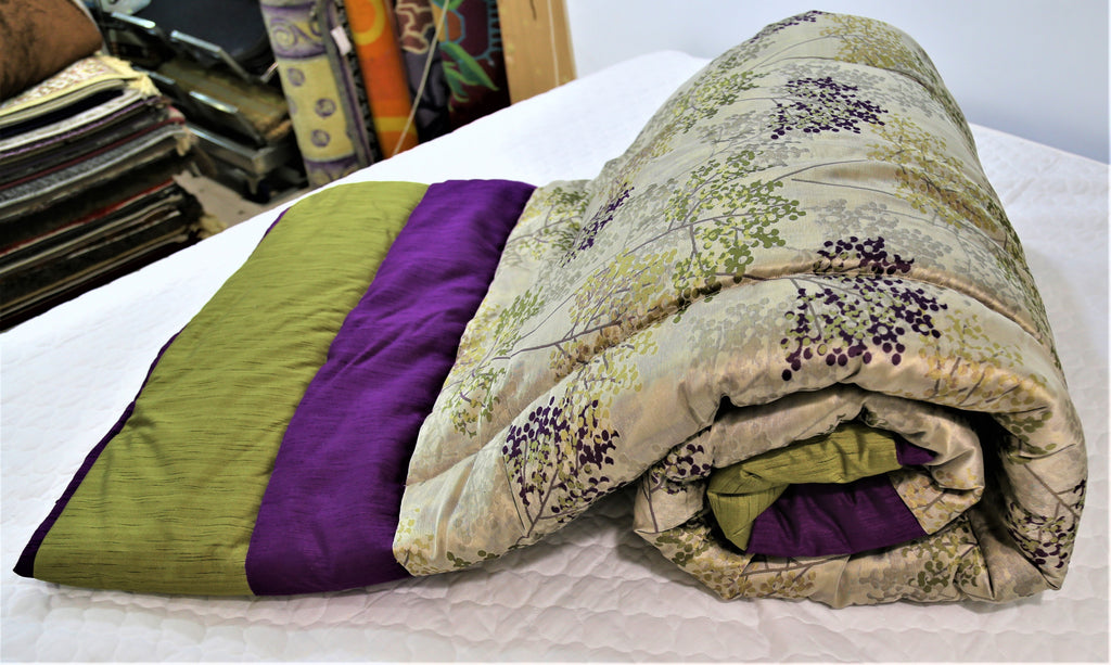 Printed(Multi) PolyCotton Quilt (90x108 Inch)-400 GSM