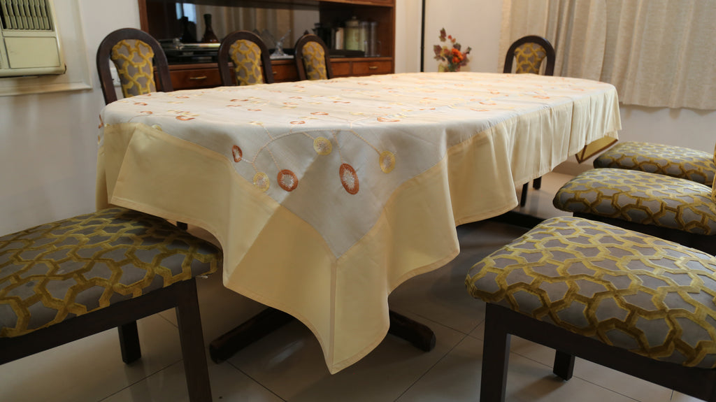 Embroidery(60x108 Inch)Table Cover(Gold/Cream)-Linen/Polyester