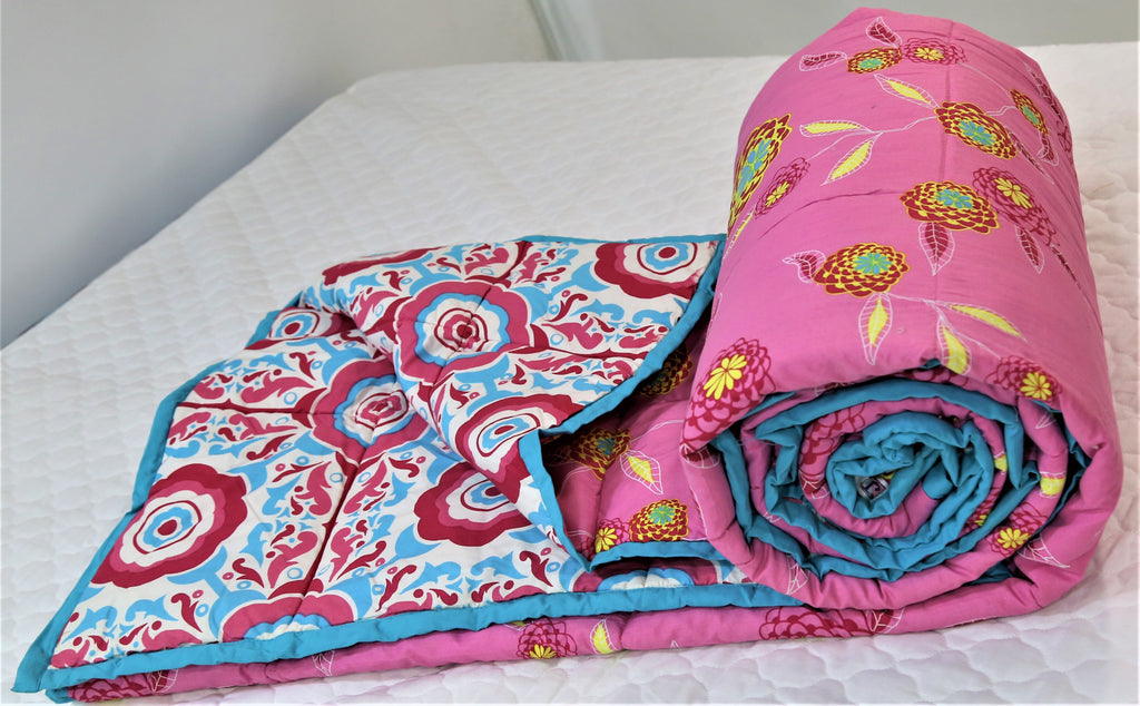 Printed(Pink) Reversible Cotton Quilt (90x108 Inch)-300GSM