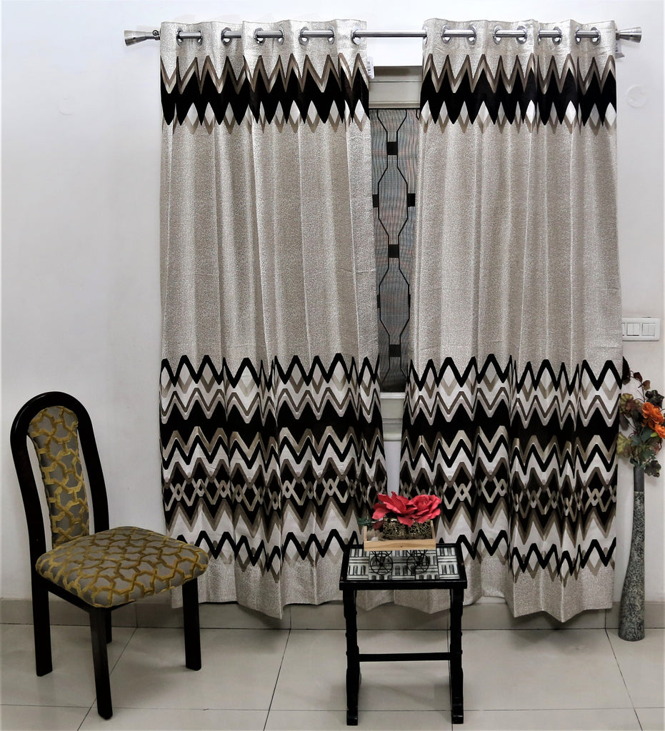 (Coffee) Curtain Self Design- Polyester(9 X 4 Feet)
