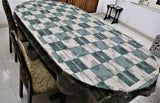 Self Design/Checkered(60x108 Inch)Table Cover(Green)-Net