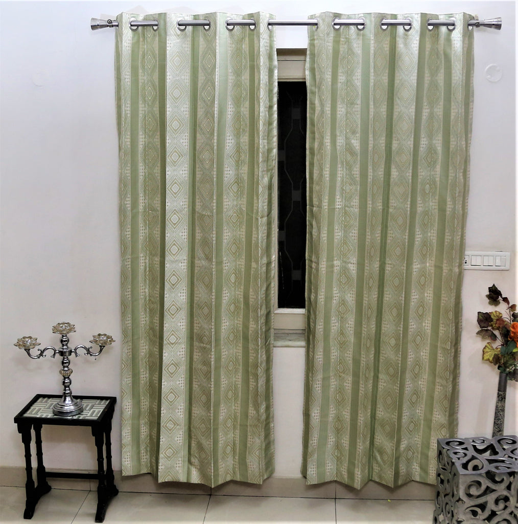 (Green) Curtain Self Design- Polyester(7 X 4 Feet)