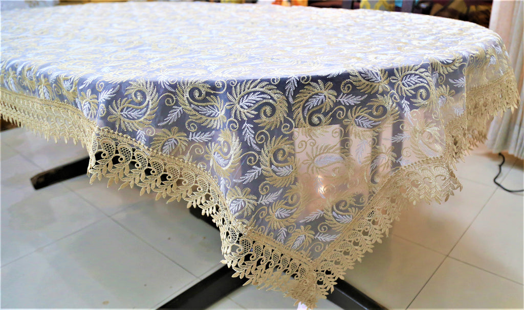 Embroidery+Lace(60x108 Inch)Table Cover(Cream/Fawn)-Sheer