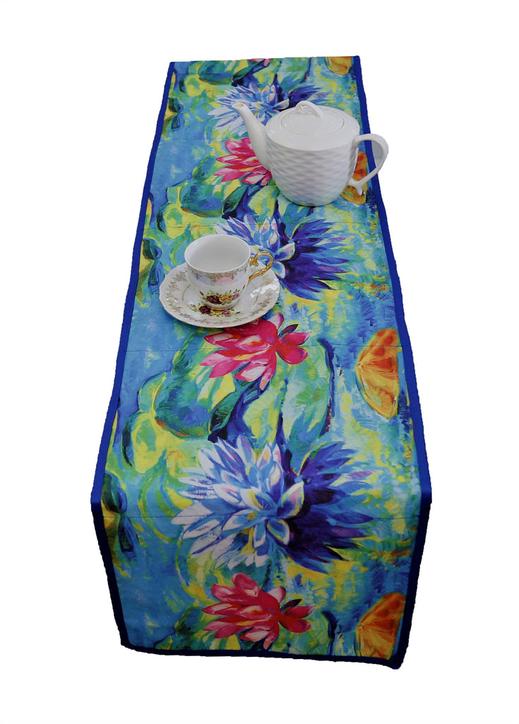 Digital Printed(12 X 72 Inch) Table Runner(Blue)-Polyester
