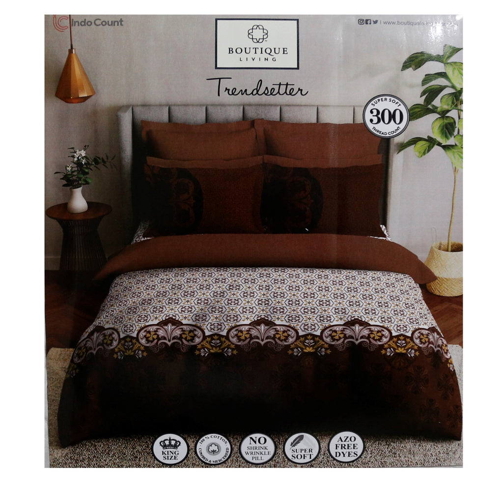 Boutique Living -Printed Bedsheet With 2 Pillow Covers (100% Cotton, Super King Size)