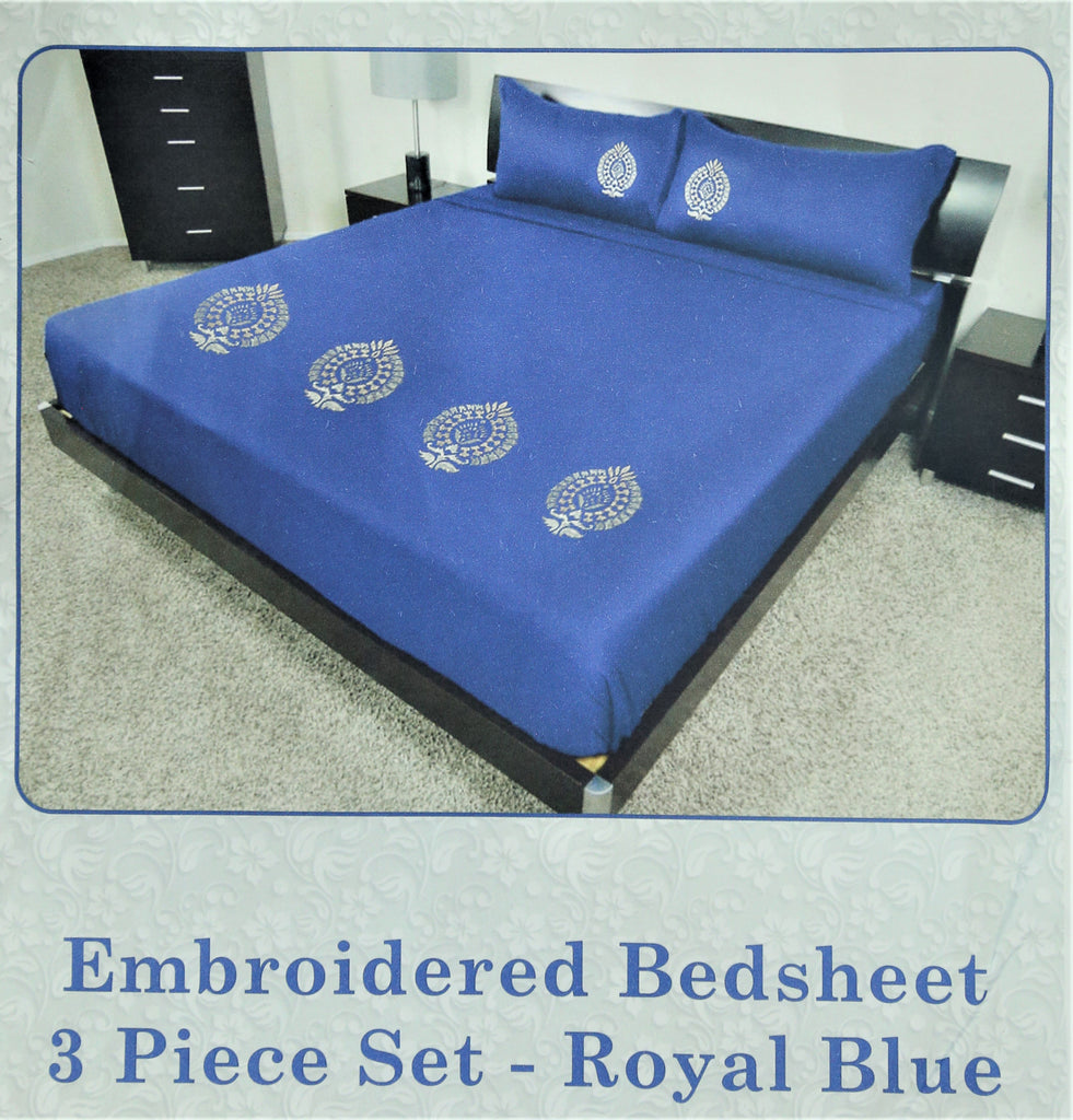 Embroidery Royal Blue 90 X 108 Inch Bedsheet Set -(1 bedsheet+ 2 Pillow Covers)