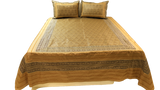 Brocade Design Poly Silk BedCover Set-(1 bedcover+ 2 Pillow Covers)