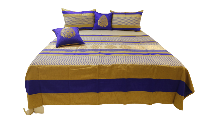 Motifs Design Dupion Silk BedCover Set-(1 bedcover+ 2 Pillow Covers + 2 Cushion Covers)