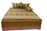 Embroidery Design Dupion Silk BedCover Set-(1 bedcover+ 2 Pillow Covers + 2 Cushion Covers)