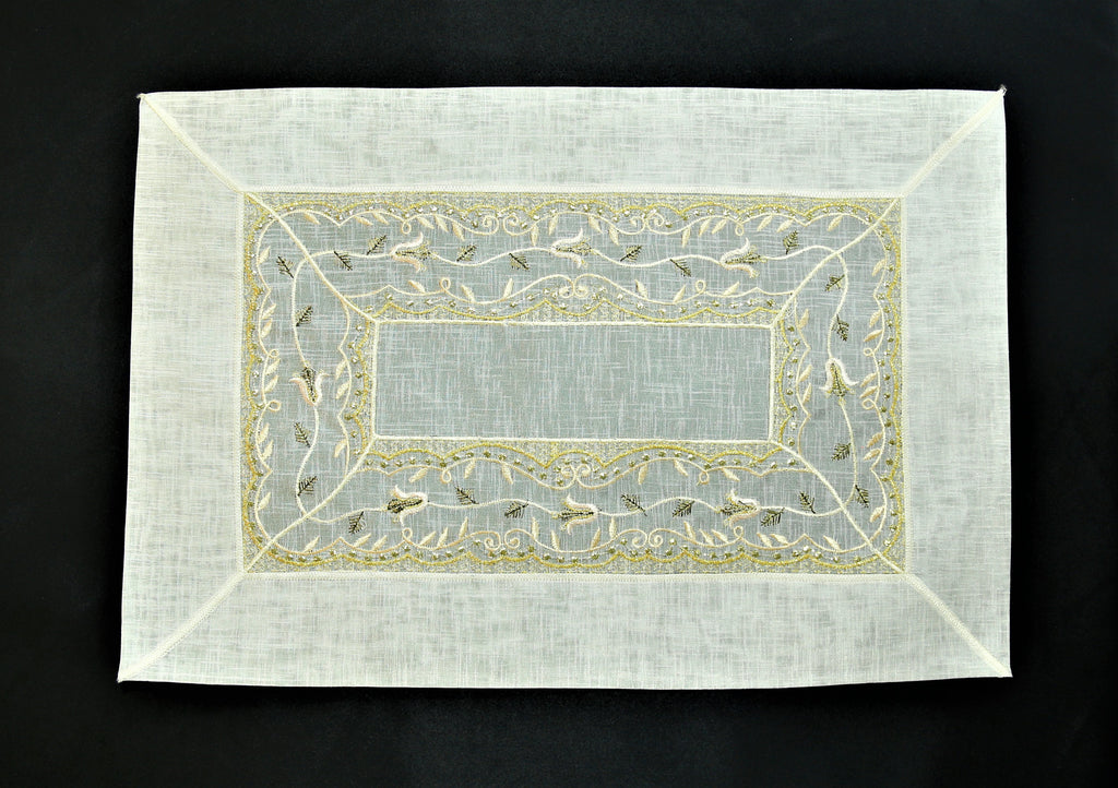 (Cream) Embroidery Table Mat-Tissue(7 PCS Set)