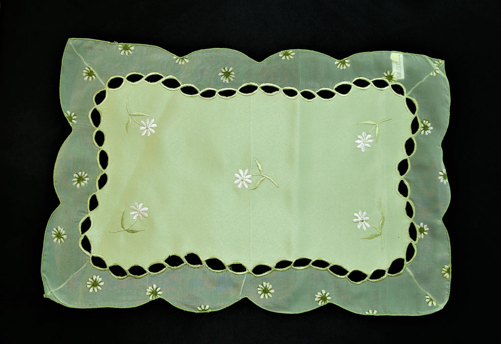 (Green) Embroidery Table Mat-Polyester(7 PCS Set)