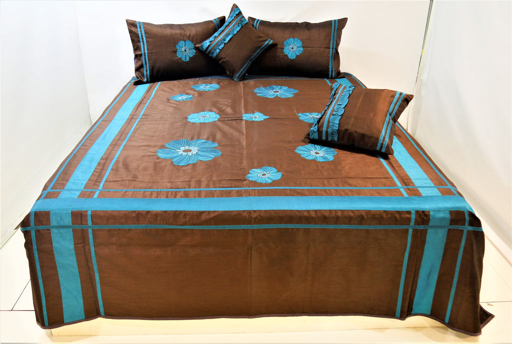 Patch Embroidery Dupion Silk BedCover Set-(1 bedcover+ 2 Pillow Covers + 2 Cushion Covers)