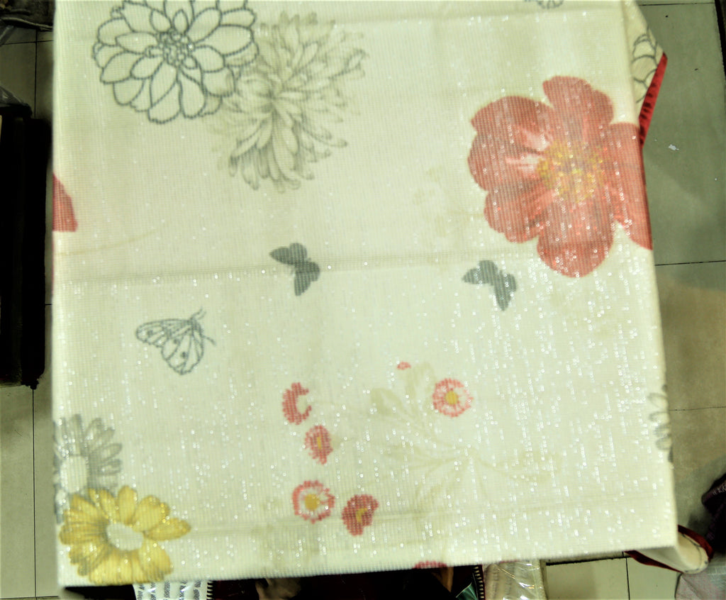 Printed  (40 X 40 Inch) Table Cover(Maroon-Cream)-Net