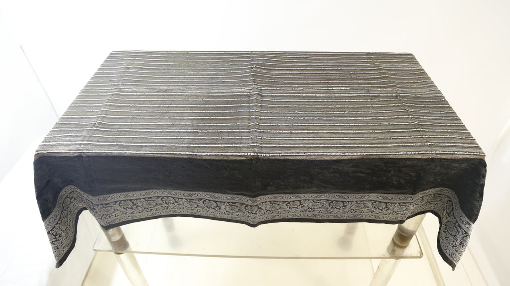 Sequence Stripe  (36 X 54 Inch) Table Cover(Black-Grey)-Tissue+Chenille