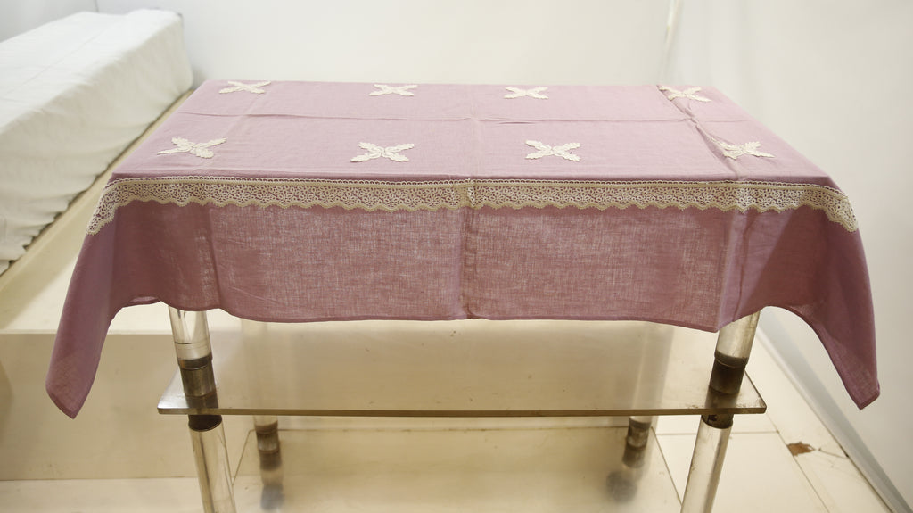 Plain with Fancy Lace (36 X 54 Inch) Table Cover(Lavender)-Linen