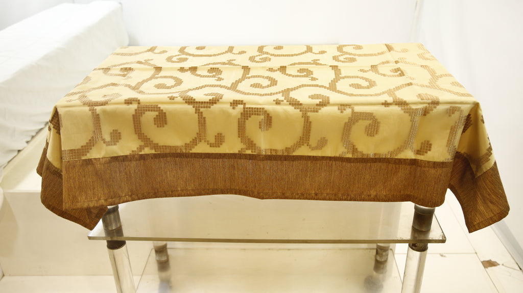 Embroidery  (36 X 54 Inch) Table Cover(Golden)-Sheer