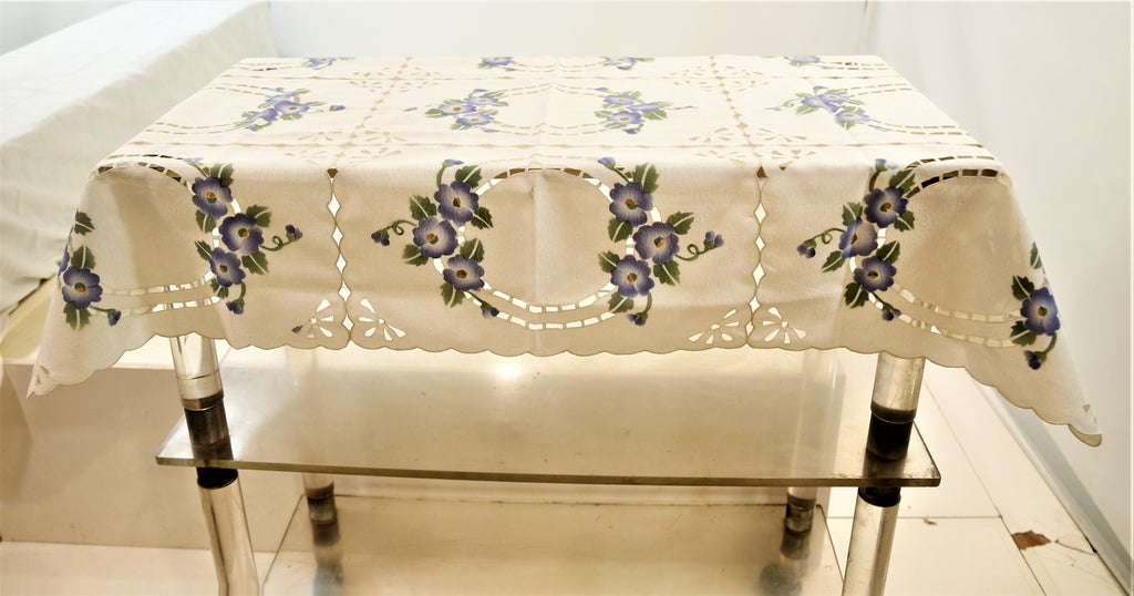 Cut Work (36 X 54 Inch) Table Cover(Cream-Blue)-Polyester