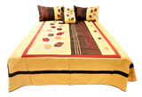 Embroidery  Dupion Silk BedCover Set-(1 bedcover+ 2 Pillow Covers + 2 Cushion Covers)