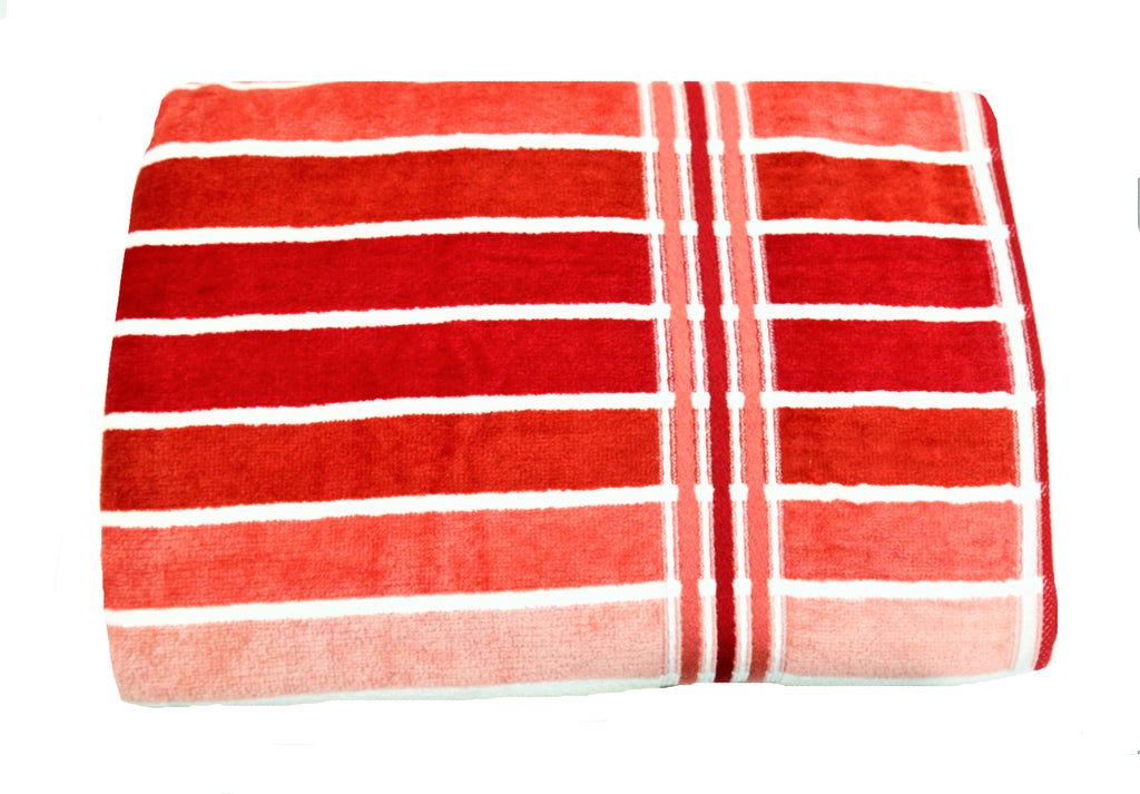 (Red) Striped Cotton Bath Towel(27 X 60 Inch)