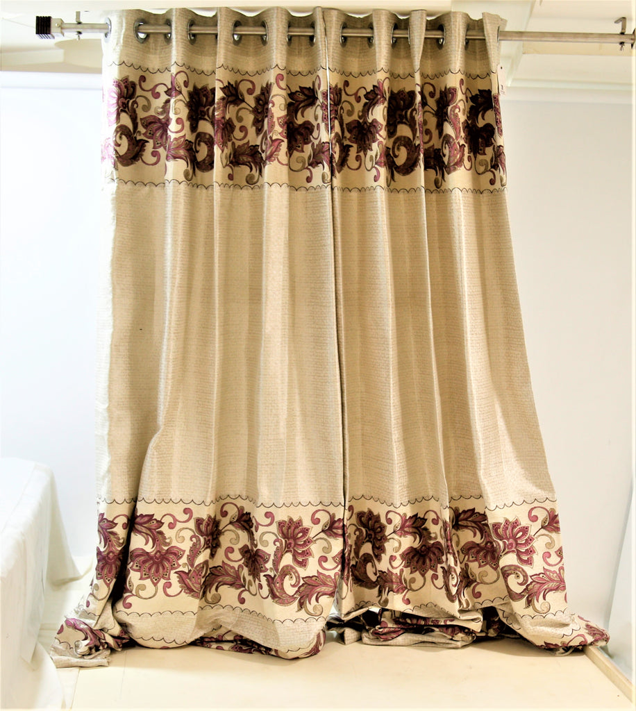 (Pink) Curtain Self Design- Poly/Cotton(7 X 4 Feet)