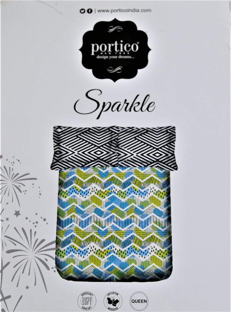 Portico Sparkle Cotton Bedsheet(90 X 100 Inch) Set -(1 bedsheet+ 2 Pillow Covers)