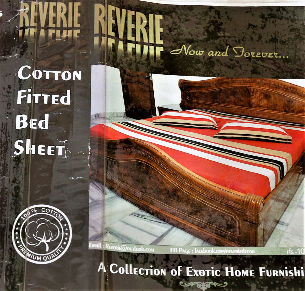 Reverie Striped Fitted Cotton Bedsheet(72 X 76 X 5 Inch) Set -(1 bedsheet+ 2 Pillow Covers)