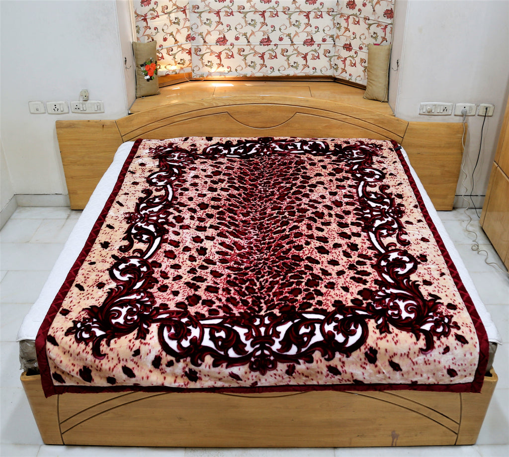 Double Print (Red/Cream)Blanket(60 X 90 Inch)-Polyester