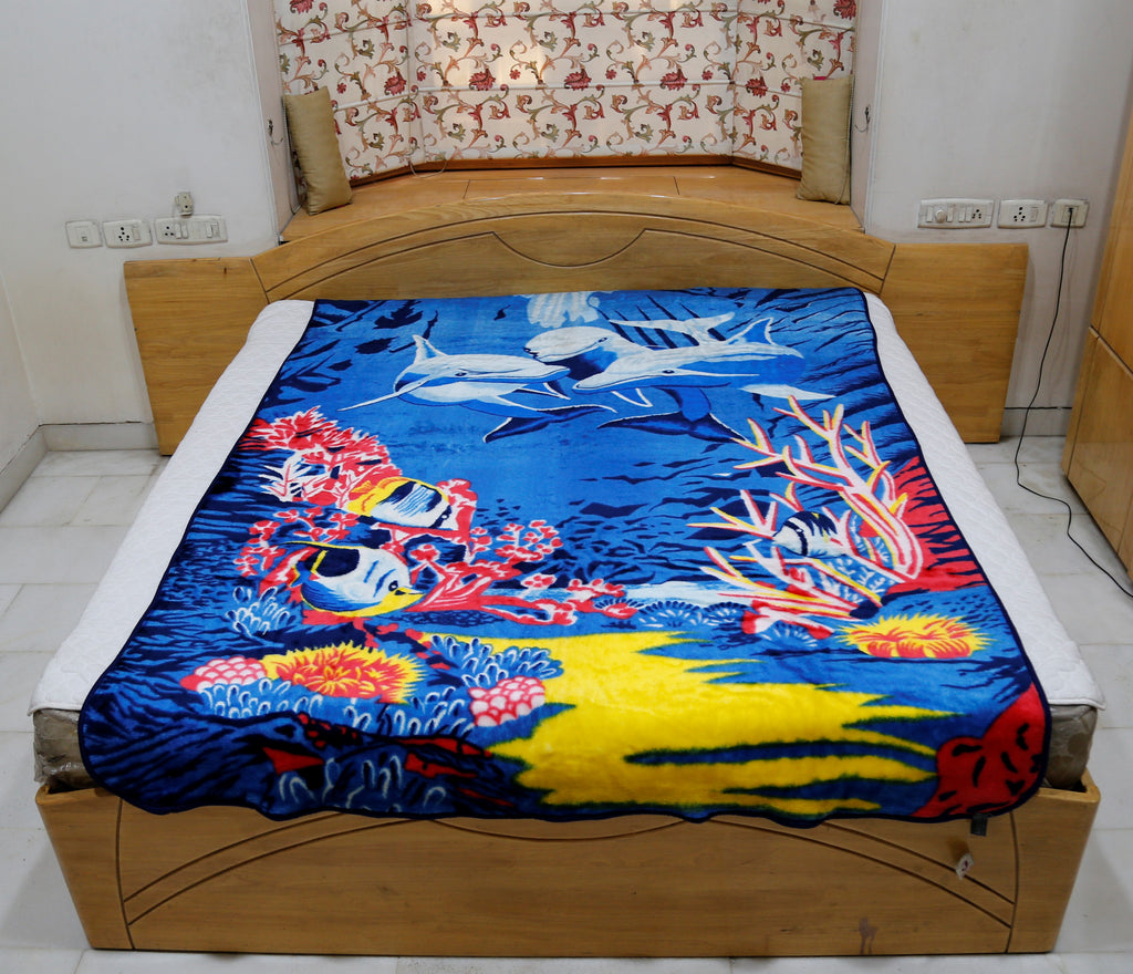 Aquatic Life (Printed) Blanket(60 X 90 Inch)-Polyester