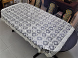 Embroidery+Lace(60x90 Inch)Table Cover(Off-White)-Tissue