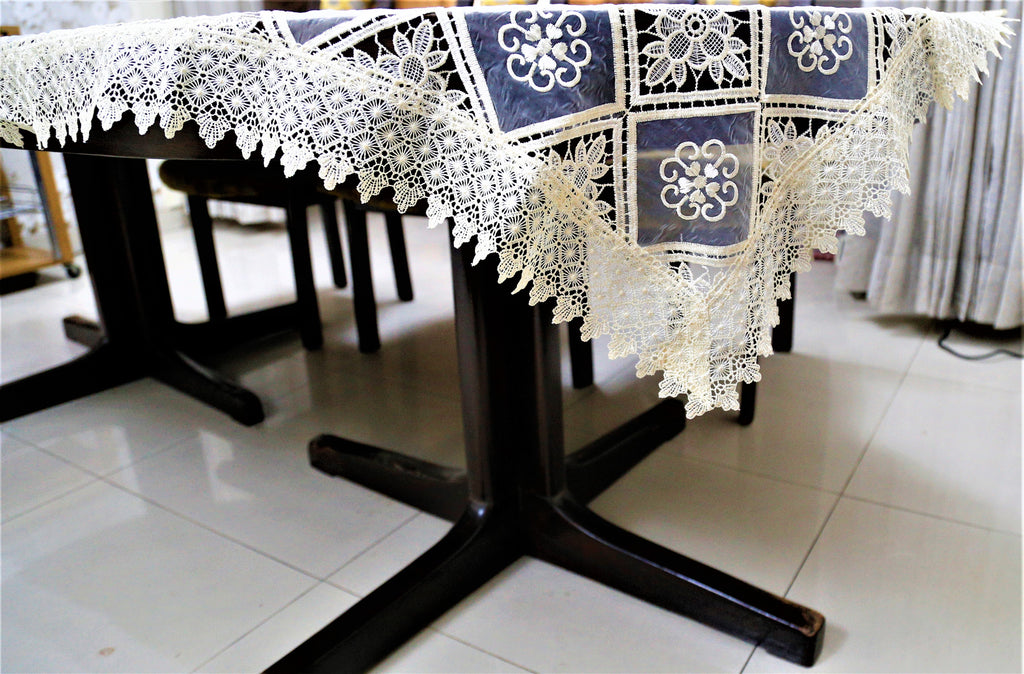 Embroidery+Lace(60x90 Inch)Table Cover(Lemon)-Tissue