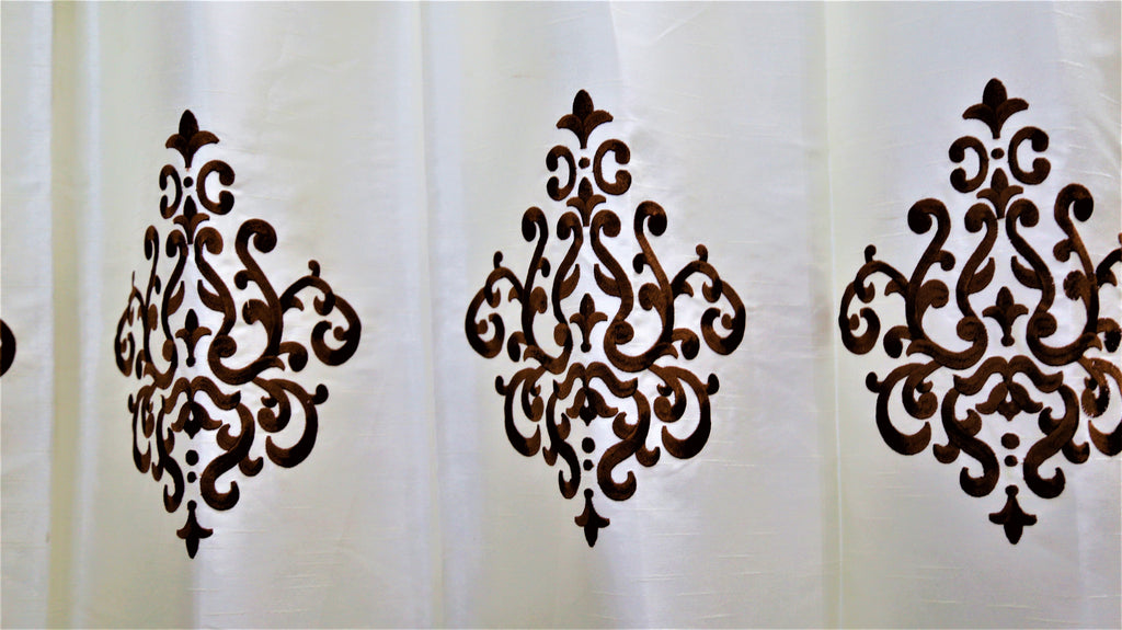 (Coffee) Curtain Damask Design- Polyester(7 X 4 Feet)
