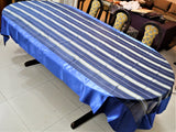 Tissue Stripe(60x120 Inch)Table Cover(Blue)-Satin/Tissue