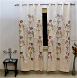 Embroidery (Pink) Curtain Self Design- Polyester(7 X 4 Feet)