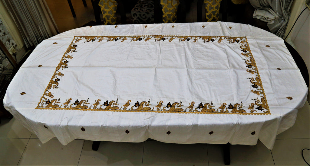 Embroidery(60x90 Inch)Table Cover(Cream/Golden)-Silk