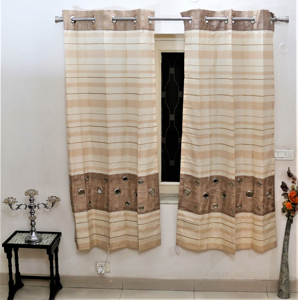 (Beige) Window Curtain Self Design- Polyester(6 X 4 Feet)