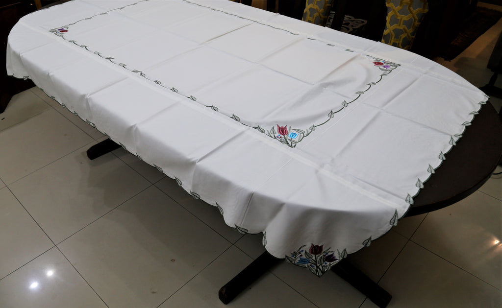 Embroidery(60x90 Inch)Table Cover(Green/White)-Cotton