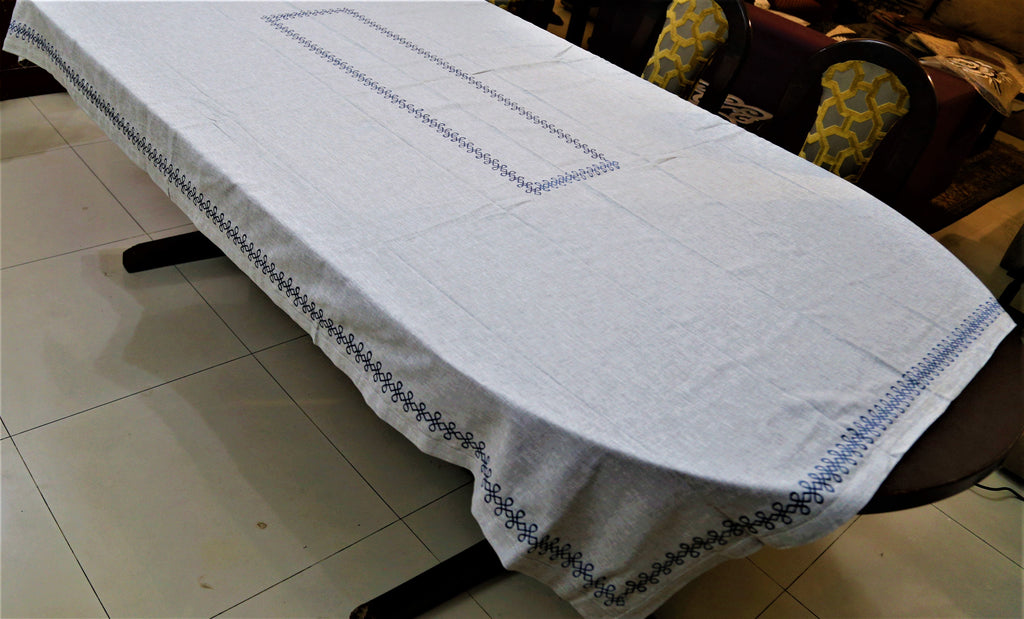 Embroidery(60x90 Inch)Table Cover(Grey)-Cotton