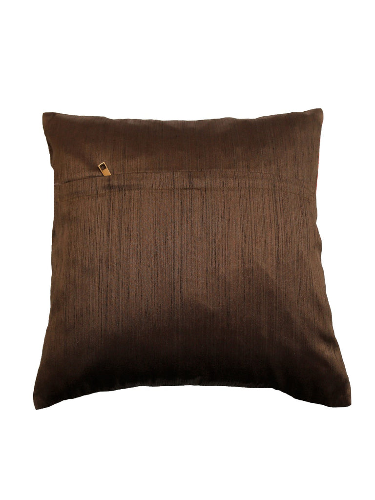 (Brown)Patch Work- Polyester Cushion Cover