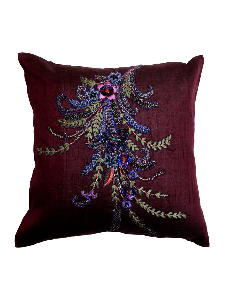 (Purple)Sequence Work- Polyester Cushion Cover