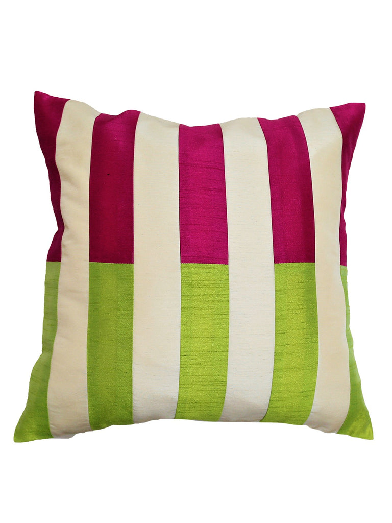 (Cream)Color Blocks- PolySilk Cushion Cover