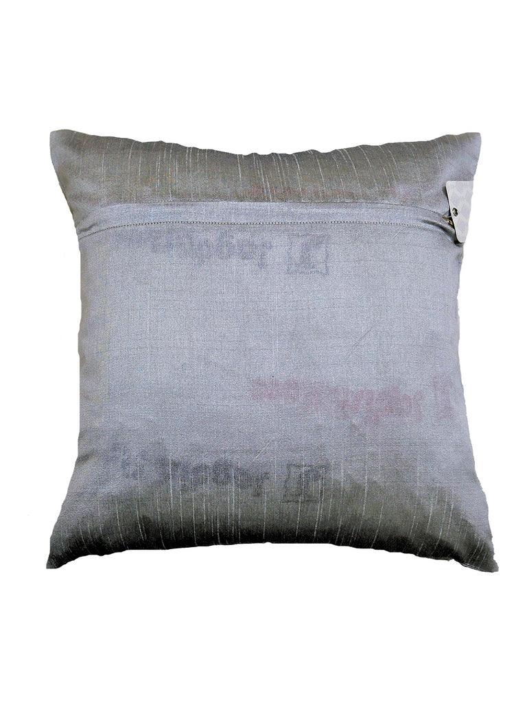 (Grey)Patch Work- Dupion Silk Cushion Cover
